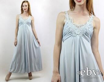 Powder Blue Dress Draped Maxi Dress Party Dress Evening Gown Evening Dress 70s Maxi Dress Vintage 70s Powder Blue Maxi Dress XS S