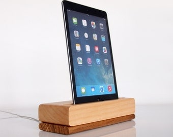 Wooden iPad Air dock, iPad Air 2 charging station - iPad mini stand - unique gift