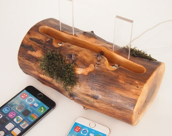 Evergreen iPhone dock - iPhone 6 / iPhone 6s plus charging station / iPhone 5s charging station -  dual dock - walnut log