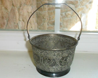 Antique Small Silver Plated Basket w/Handle