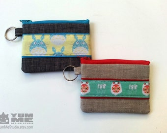 Totoro or Princess Mononoke Keychain Zipper Pouches (Made to Order)
