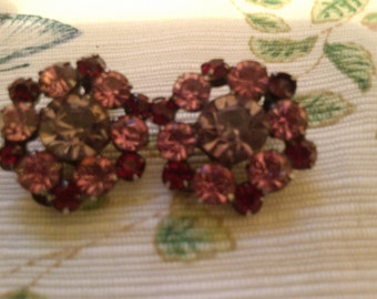 REDUCED  Pink and Red Rhinetone Clip Earrings