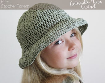 Crochet Pattern: The Margaret Sun Hat-4 Sizes Included Toddler, Child, Adult, Adult Large-summer, rose, straw, raffia