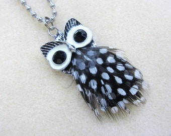 owl pendant necklace pewter and real feathers
