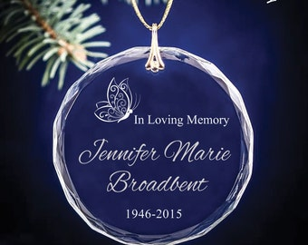 Butterfly In Loving Memory - Four style options - Engraved Round Personalized Crystal Ornament