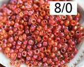Orange Red Seed beads, Toho beads, size 8/0, Inside Color Jonquil Brick Red Lined  N 951 - 10g - S926