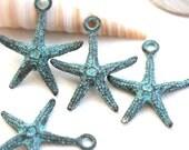 4pc Starfish metal charm, Verdigris patina on copper, Seastar, Greek beads, starfish pendant bead - 20mm - F479