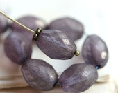 Large Olive shaped beads, Dusty Purple Grey czech fire polished oval beads, 13x10mm - 6Pc - 2510