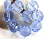 10mm Light Sapphire Blue beads, fire polished czech glass, round faceted beads - 10Pc - 0445