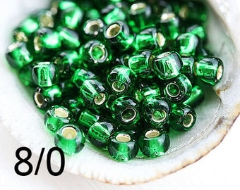 Green Seed beads, TOHO, size 8/0, Silver Lined Grass Green N 27B, rocailles - 10g - S914