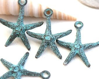 4pc Starfish metal charm, Verdigris patina on copper, Seastar, Greek beads, starfish pendant bead - 20mm - F479
