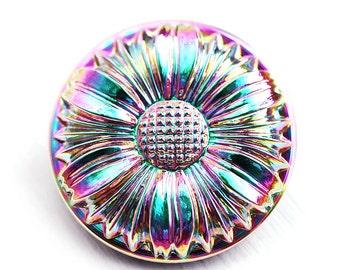 27mm Iridescent Flower Czech Glass Button, Rainbow Pink, Green, Purple,  Handmade Button bead, size 12, 1pc - 0937