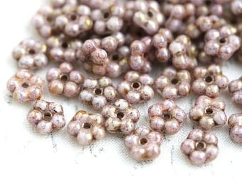 50pc Picasso luster daisy flower beads, Dusty Pink, rustic czech glass flat 5mm daisy, spacer - 1118