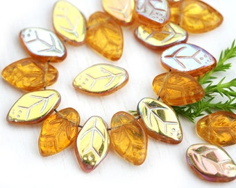 12x7mm Amber yellow leaves, Czech glass pressed leaf beads, Rainbow coating, top drilled, 25pc - 2235