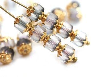 6mm Cathedral Czech Glass beads, Matte Light Grey, Golden ends, fire polished, round - 15Pc - 0414
