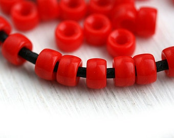 50pc Pony beads, Light red Czech glass Roller beads, 2mm large hole, round spacer beads - 6mm - 2310