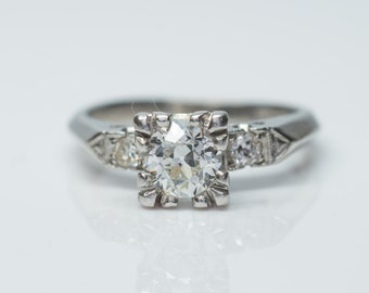 0.78CTW Art Deco Diamond Engagement ring in platinum with 0.68ct Center Old european cut diamond size 4.75 * Great solitaire with accents