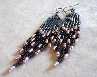 Dramatic rose, black and gray long fringe seed bead dangle earrings statement earrings bold earrings dramatic earrings long dangle earrings
