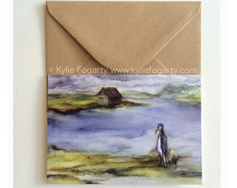 Fine Art Greeting Card, A6 Sized - Bird, Contemporary Landscape, Seascape, Kylie Fogarty, Blank Greeting Card