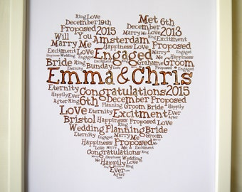 Engagement gift Personalised Engaged canvas print letter word art Heart framed Hand drawn lettering