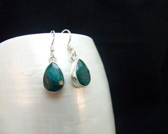Emerald Pear Drop Sterling Silver Earrings