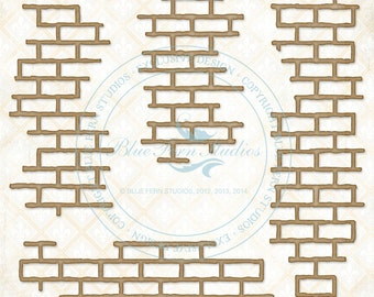 Blue Fern Studios Laser Cut Chipboard Shabby Brick Bits 4 Piece Set