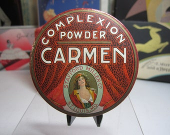 1910's-20's Art Deco unused sealed Carmen complexion powder box pretty lady framed by theatre stage curtains