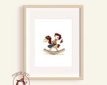 Rocking Horse -  Fine Art Print - nursery - baby boy's room - child decor - wall art - boy's room - adorable toy boy cowboy illustration