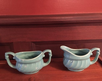 Lovely turquoise blue sugar and creamer set