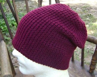 Crochet Slouchy Adult Hat Beanie Skullcap Claret Maroon Men Women Teen