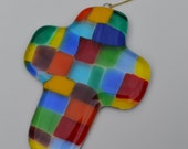 Colorful Glass Cross Suncatcher