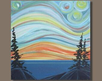semi abstract painting, landscape painting, semi abstract art, small wall art, small painting, small art (10x10) orange blue northern lights