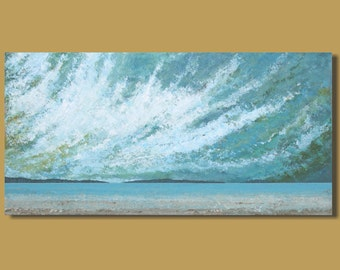 panoramic painting of ocean, abstract painting, beach painting, sand, clouds, big sky, horizontal landscape, ocean painting, 18x36, art