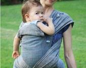 BaBy SaBye NATURAL DYES- baby sling carrier - Wrap Mei Tai sling - handwoven baby wrap - mei tai with hood -STANDARD model 38 blue