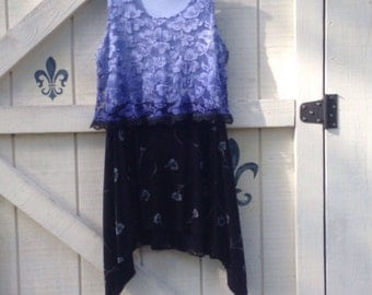 Boho blue dress L, Lagan style upcycled dress bohemian Black dress sleeveless Tunic gypsy Eco fashion dress