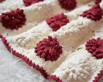 Newborn Baby Blanket,  Cream, Dark Red, Christmas Blanket, Photo Prop