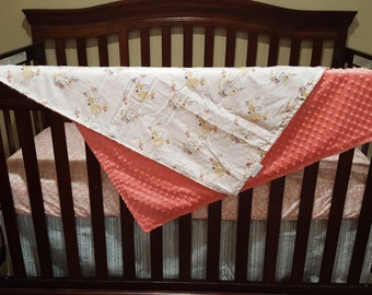 Tulip Fawn, Coral Meadow Flowers, Gray Timbers,  and Coral  Crib Bedding Ensemble with Blanket or Patchwork Blanket