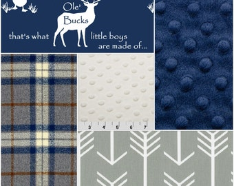 Baby Boy Crib Bedding - Ducks Deer, Gray Plaid, Gray Arrow, Navy, and Ivory Crib Baby Bedding Ensemble
