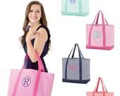 Monogrammed Tote Bag Luggage Pinstriped Bridesmaid Sorority Teacher Gift