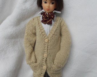 Handmade outfit cardigan with pockets available for blythe,momoko,pullip,fashion royalty, barbie, bjd