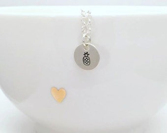 Hand Stamped Pineapple Necklace - Pineapple Sterling Silver Necklace - Hand Stamped Pineapple Jewelry - Silver Pineapple Pendant