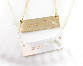 Florida home necklace - Home state jewelry - Florida necklace - Personalized Gift - Graduation gift - Gold bar or Silver bar - FL necklace