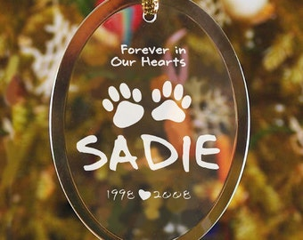 Personalized Pet Memorial Ornament Christmas Engraved Sympathy Gift