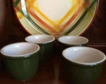 Vintage Hall Forest Green Custard Cups, Set of 4