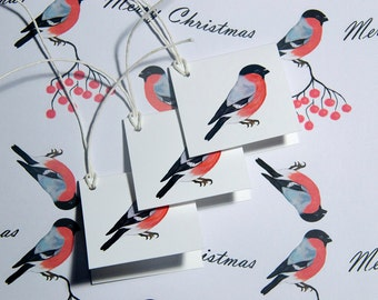 Christmas Wrapping Set - Wrapping Paper - Gift Tags - Recycled Paper - Bullfinch - A3