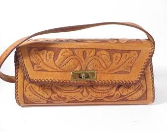 Handmade Tooled Leather HandBag - Tooled Leather Purse