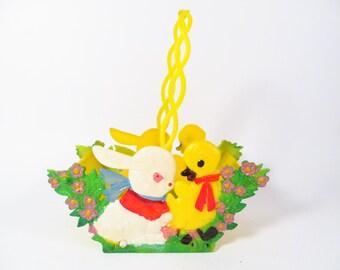 Vintage Folding Easter Basket Made In Hong Kong - Collapsible Hard Plastic Easter Basket