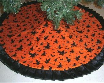 """Halloween Tree Skirt ~ 47"""" ~ Orange with Witches & Bats"""