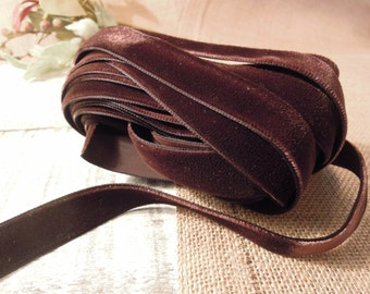 "Vintage French Velvet Satin Ribbon in Chocolate Brown 90"" /  Brown Velvet Ribbon / Made in France"