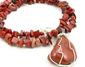 SALE Red Jasper Necklace - Wire Wrapped Pendant - Gemstone Necklace - Sterling Silver - Statement Necklace - Chunky Necklace - Artisan Jewel